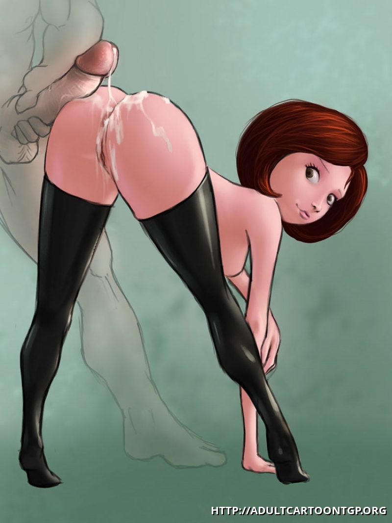 Helen aka Elastigirl gets yam-sized stream of spunk all over her incredible bum!