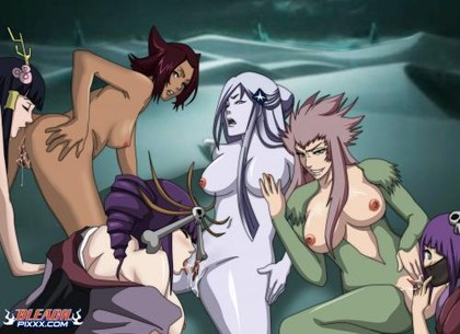 "Great lesbian orgy with perverted girls from ""Bleach""!"