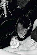 Lady Gaga posing topless & nipslip in seethru