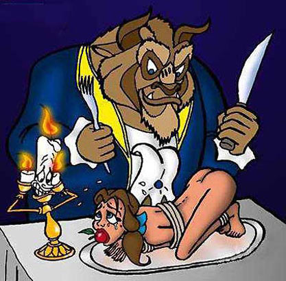 "The  beast is getting ready to eat Belle. this picture can be taken directly, or it is made to make people think he is gonna ""eat"" different"