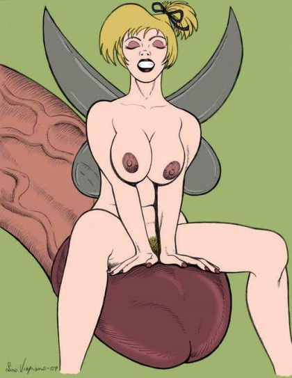 Hot and nude Tinker Bell sitting on a giant cock!