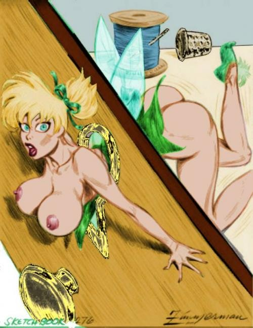 Tinker Bell got stuck in very interesting position - now anyone could see not only the fairy but also fairy's boobs and butt!