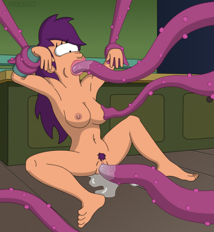 "See how nude Leela Turanga from ""Futurama"" gets fucked in all holes by purple tentacles!"