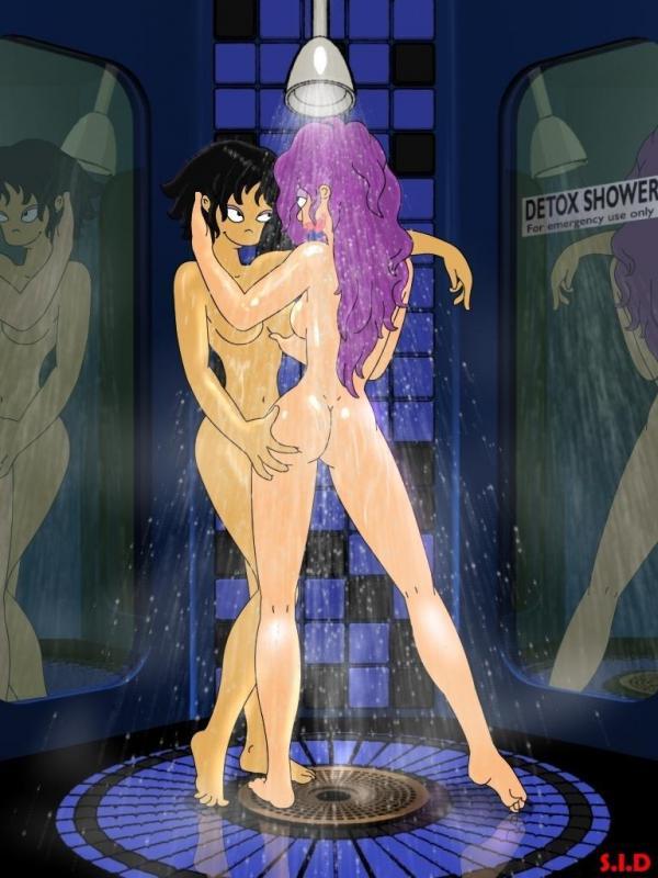 Leela in the shower naked