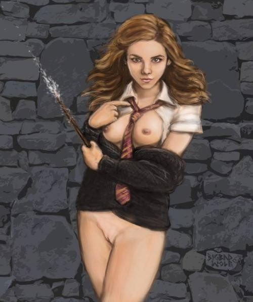 Someone told Hermione that her spells will be much stronger if she will cast them with her tits and pussy naked...