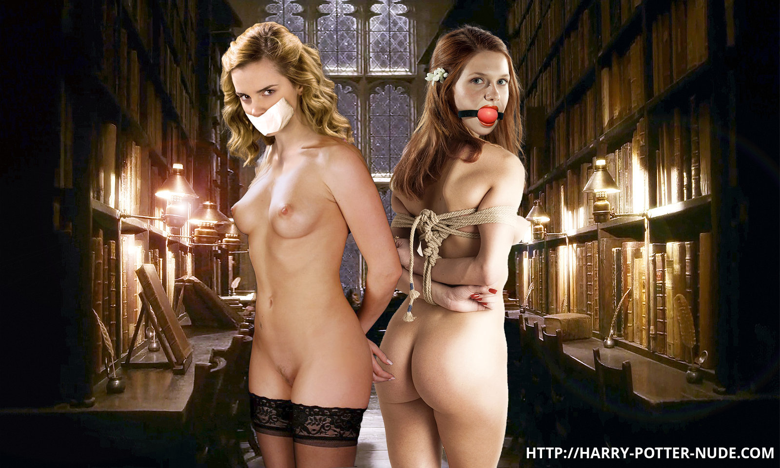 Sexy dools Ginny Weasley and Hermione are both bare and strapped... what kind of kinky magic is going to happen with them next?