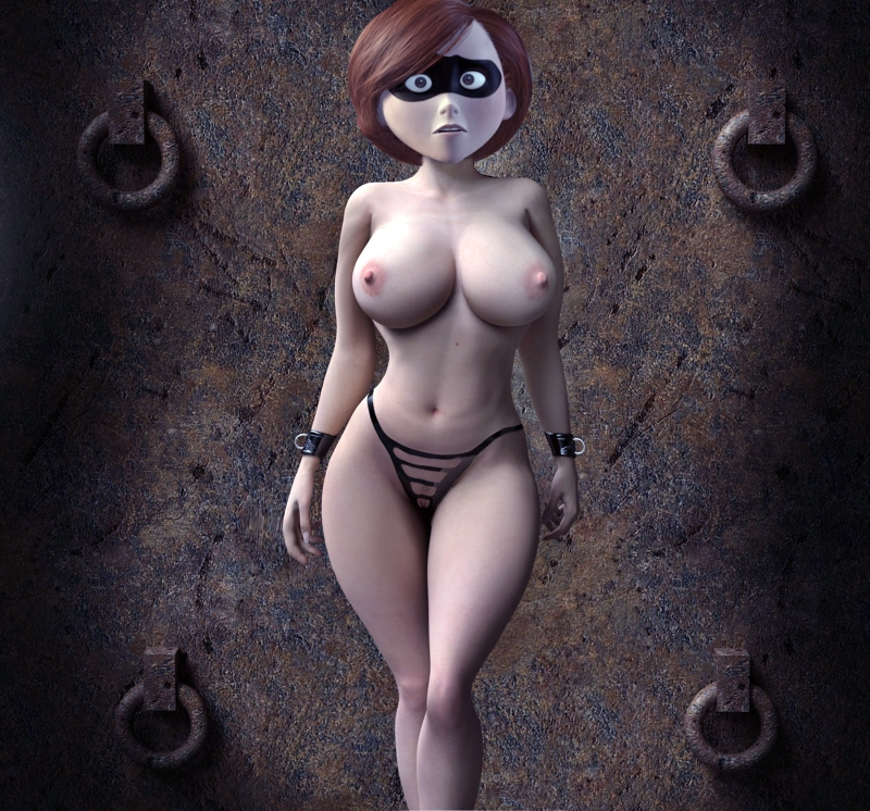 Helen Parr shows her beautiful body with big tits and pussy cover thin black thong.