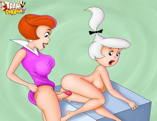 Jane Jetson is not only a shemale but she also love to fuck her naked daughter Judy!