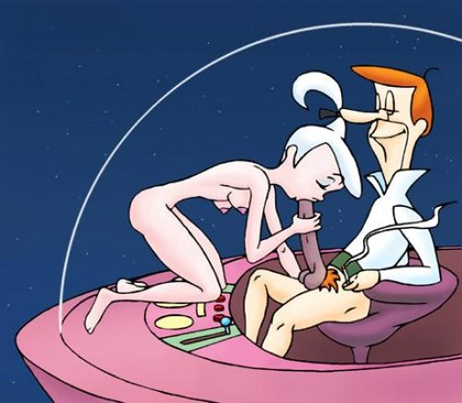 Nude Judy Jetson has to suck her dad George's cock before he will let her to take car for this evening...
