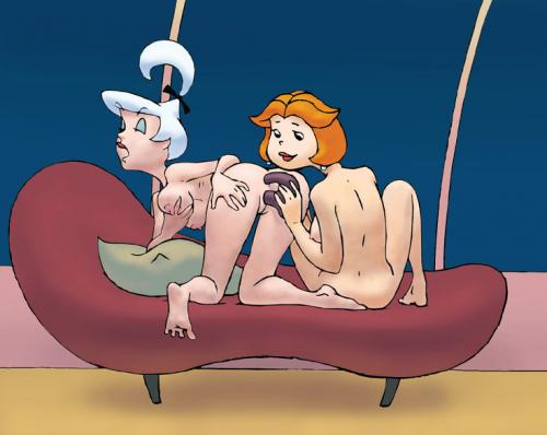 Jane and judy jetson nude on a sofa. Judy is yelling as jane tears up her rectally and vaginally with a dual sided fake penis.