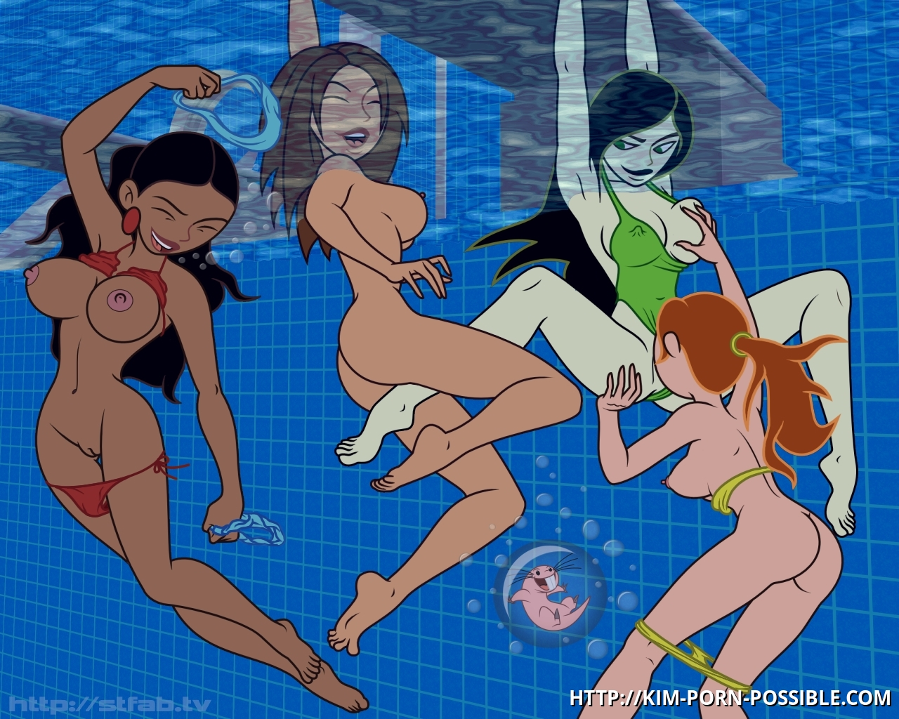 Underwater lesbian fun Kim Possible and her sexy friends!
