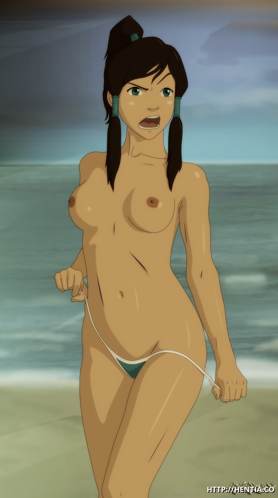 All that Korra is wearing right now is a tiny bikini and you want her to remove them too?!