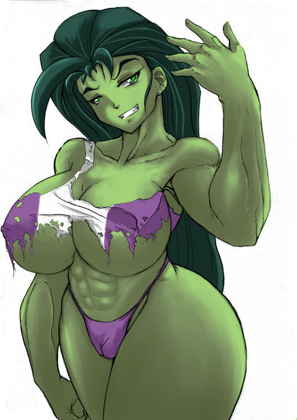 Take a look at She-Hulk in her damaged clothes - her body is growing in right places!
