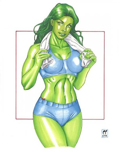 She-Hulk looks very hot after sweating at the gym...