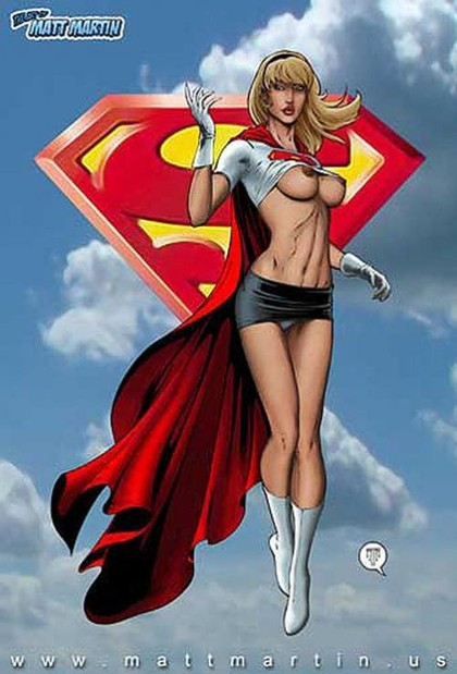 Supergirl thinks that no one can see her up in the sky so she lets her tits out!