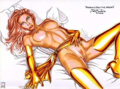 Jean Grey as Naked Phoenix - this girl is hot (literally and not)!