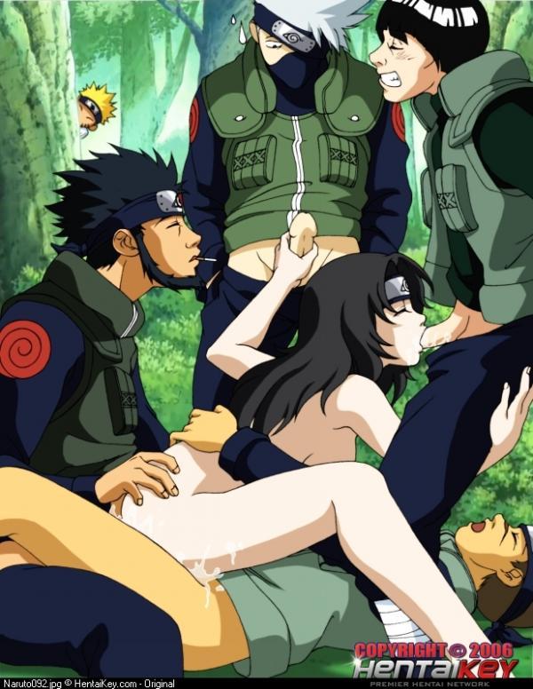 Iruka and Asuma are fucking Kurenai thats sucking two cocks (Kakashi and Gay). Naruto is watching them from behind..