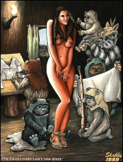 The ewoks make Leia's new dress... that is why she is standing nude with all these horny furryballs aroun her!