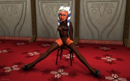 Ahsoka Tano stripps on a chair