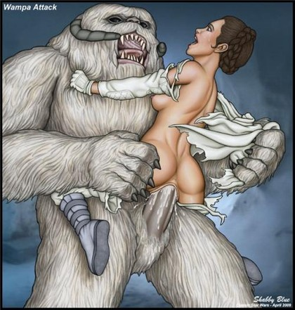 Princess Leia with a huge wampa's cock stuffed in her tiny, wet pussy... It looks like it out started as rape but it sure didn't stay that way for long!