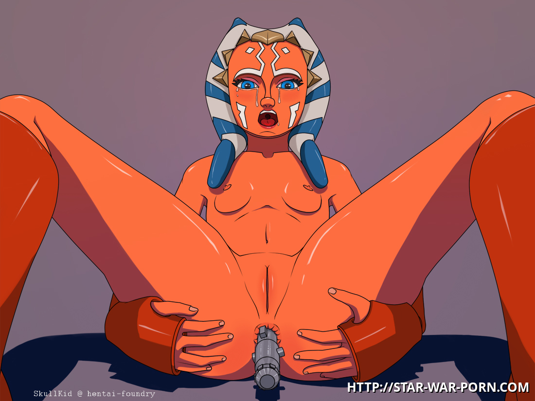 When no one is around Ahsoka Tano likes to get naked and use her lightsaber as a fucktoy for hir tight butthole!
