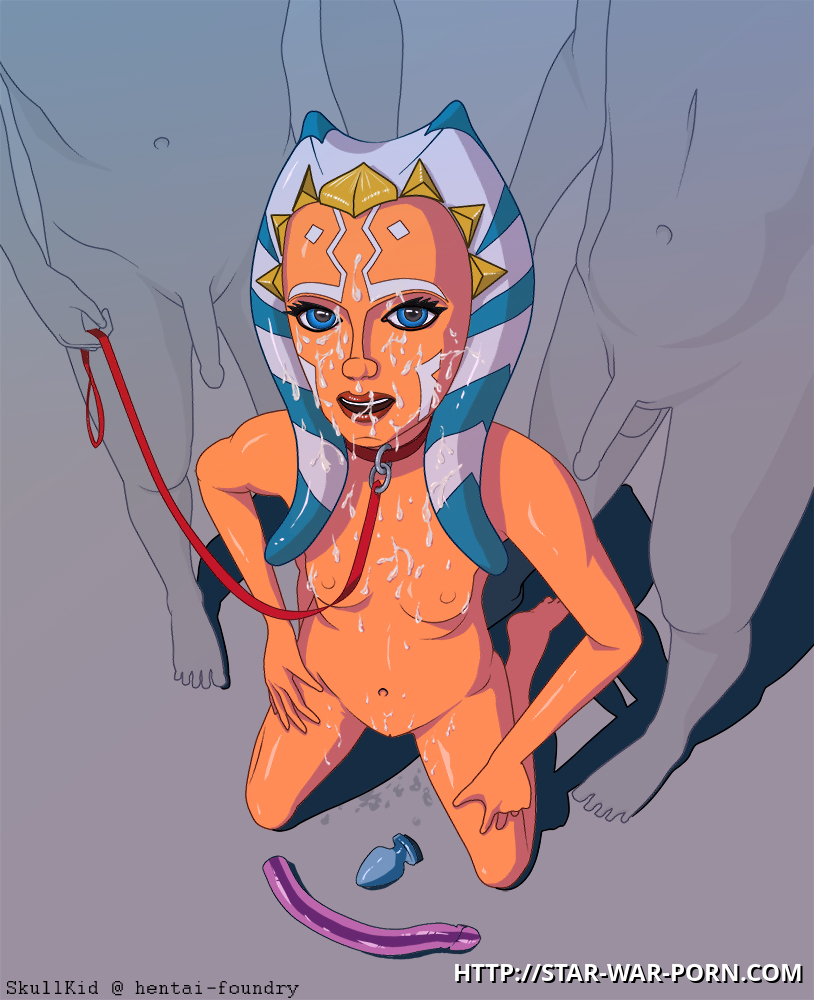 Ahsoka Tano like warm male seed on her pretty face