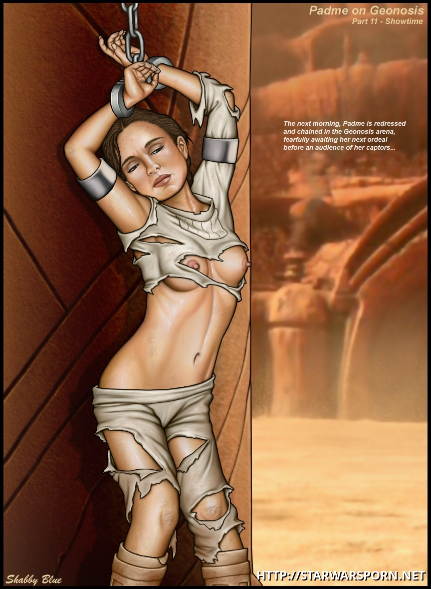 Actually at Geonosis arena Padme got her clothes bruised much more than we have seen in the movie...