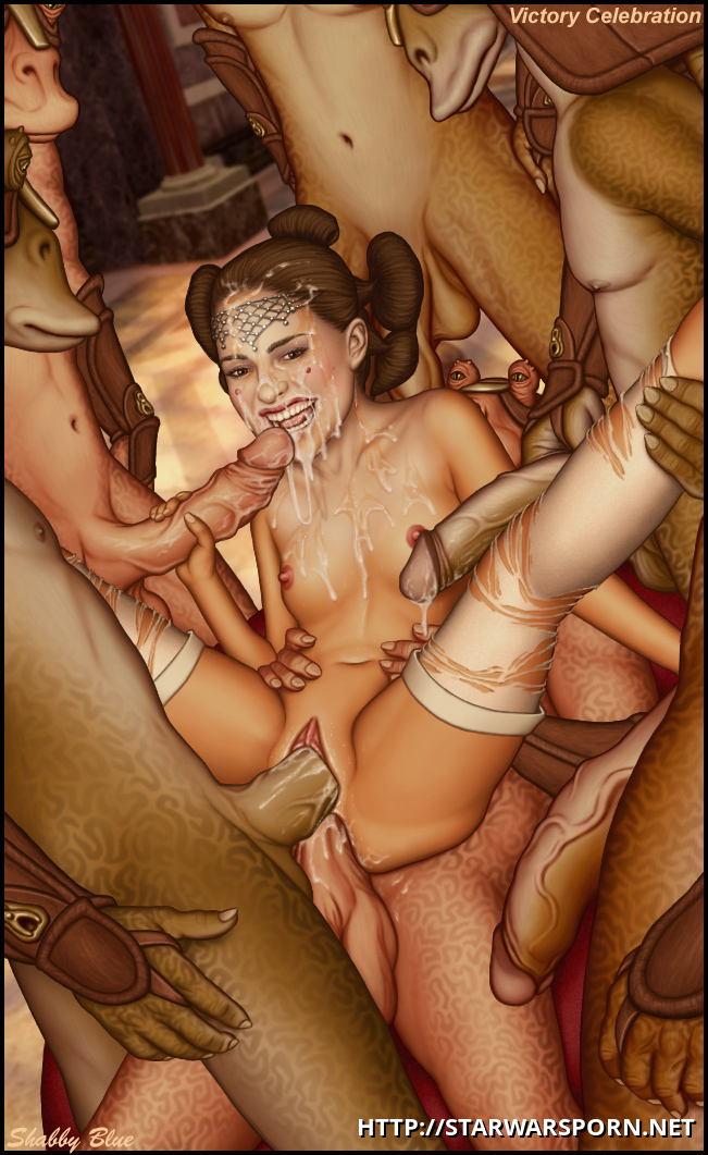 Padme gets smashed by the gang of gungans and looks like she is indeed lovin' this!