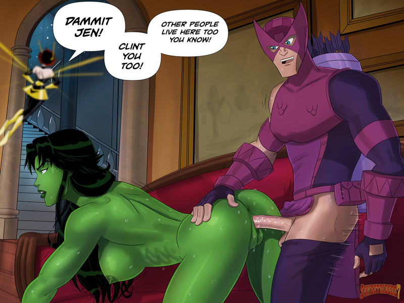 Wasp should not come home earlier than she supposed to if she doesn't want to observe hawkeye banging with She-Hulk