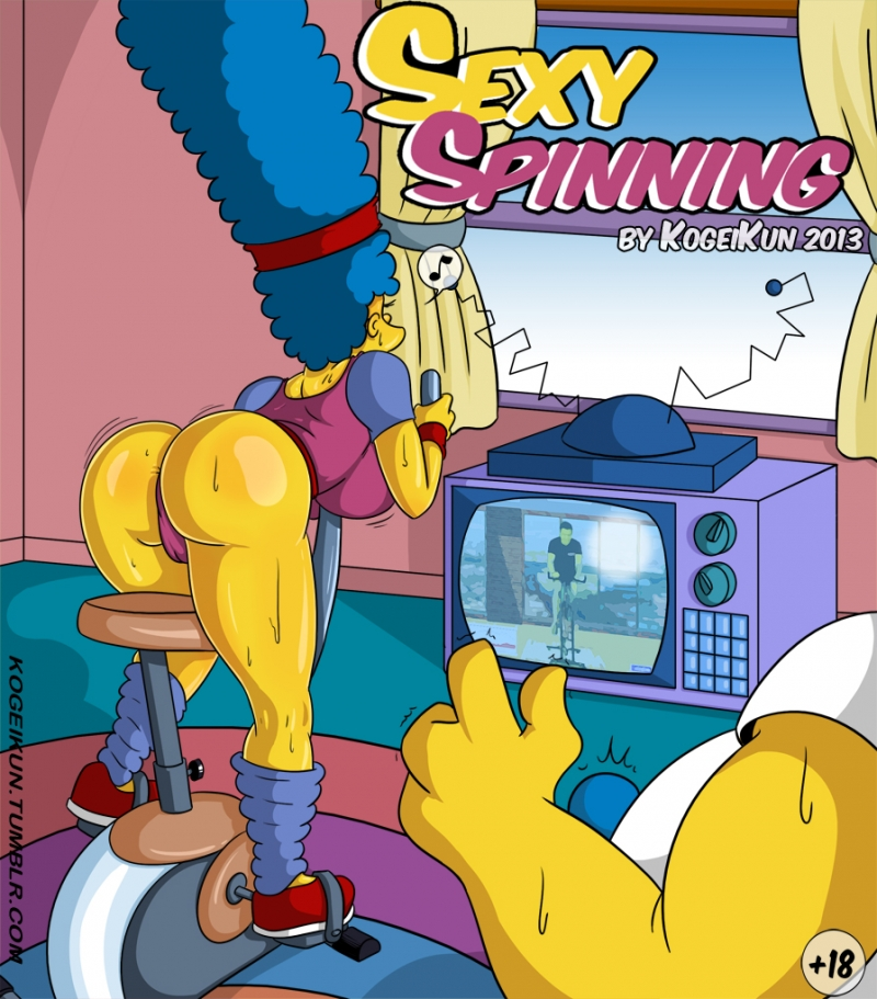 Mind-blowing Flipping: Marge Simpson has found more pleasuring way to work out her wieght...