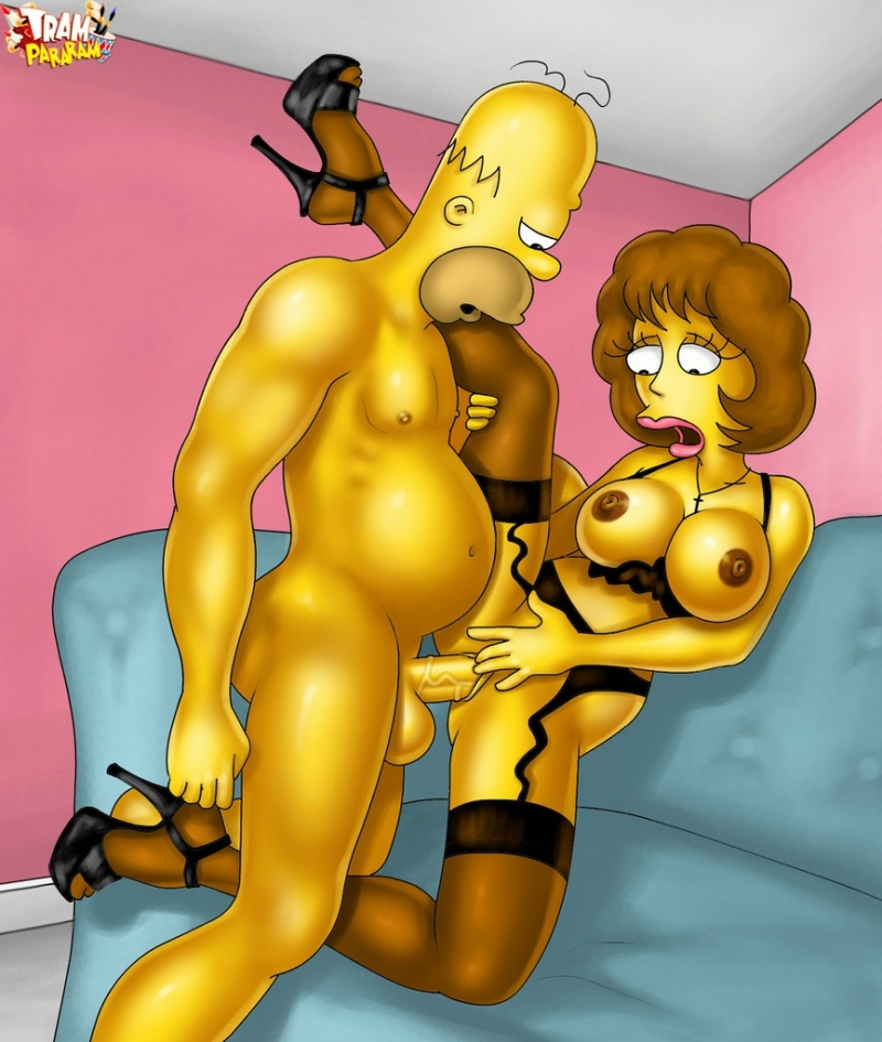 Homer Simpson used to borrow Ned's things... including his super-fucking-hot wife in stunning undergarments!