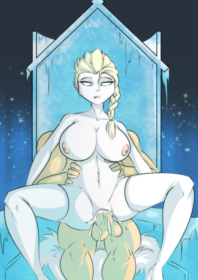 Busty Elsa like ride on fat cock