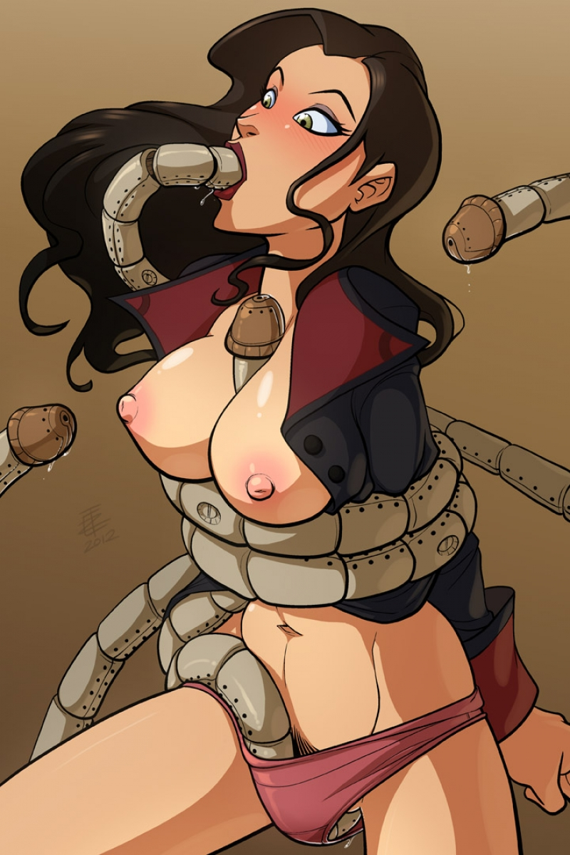 Mechanical tentacles fuck busty Asami Sato