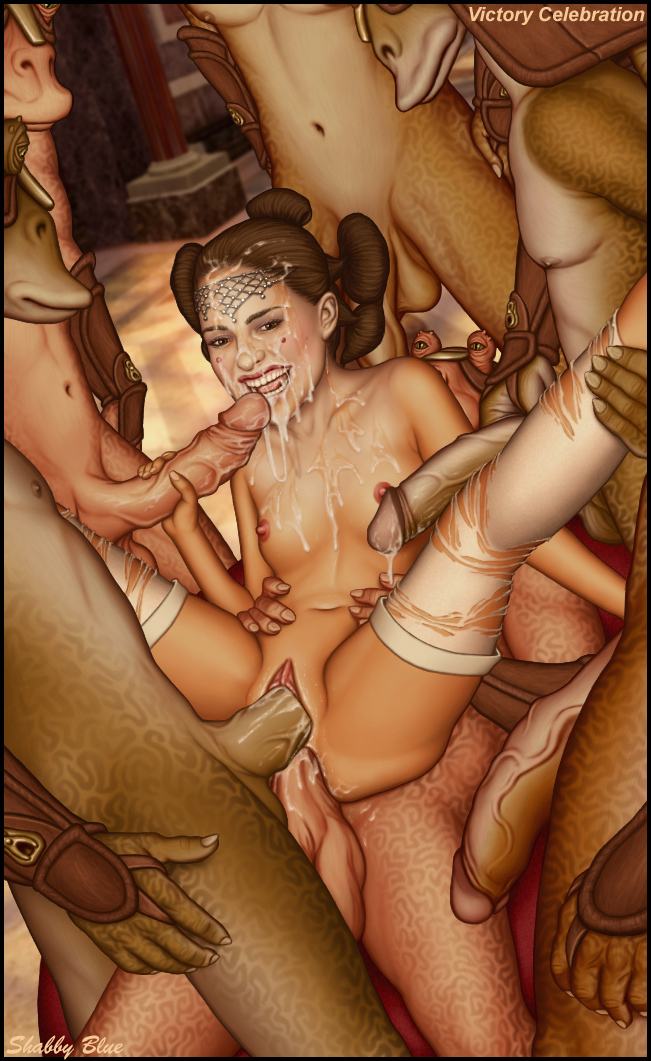 Padme gets humped by the group of gungans and looks like she is indeed lovin' this!