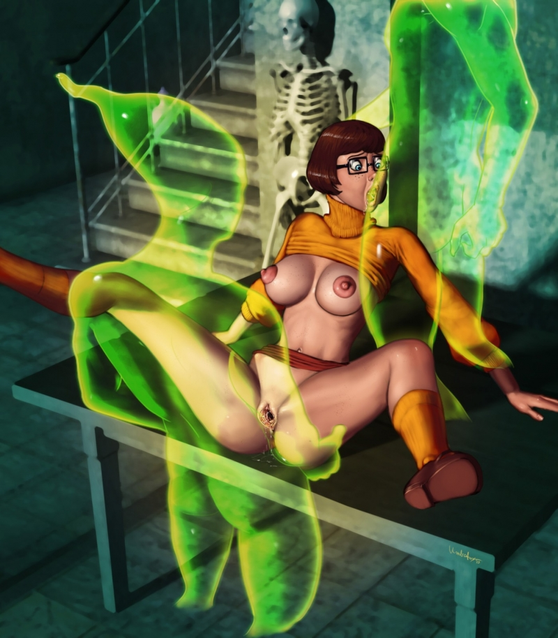 Buxomy geek Velma Dinkley gets plowed by a duo of... ghosts!!!