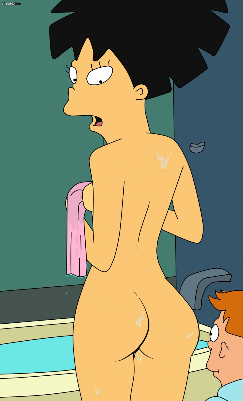 You can join Fry and observe Amy Wong showing her splendid rump!