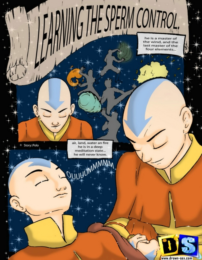 Learning the sperm control: And today Katara will teach aang to shoot his sperm loads!