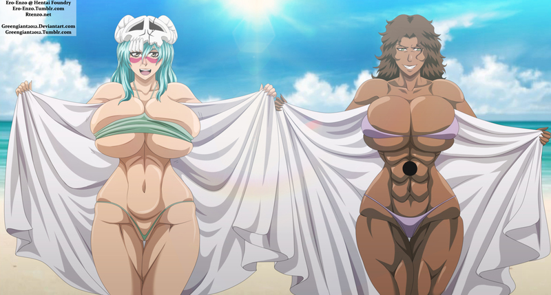 Huge-boobed nymphs Shihouin Yoruichi and Nel Tu view spectacular
