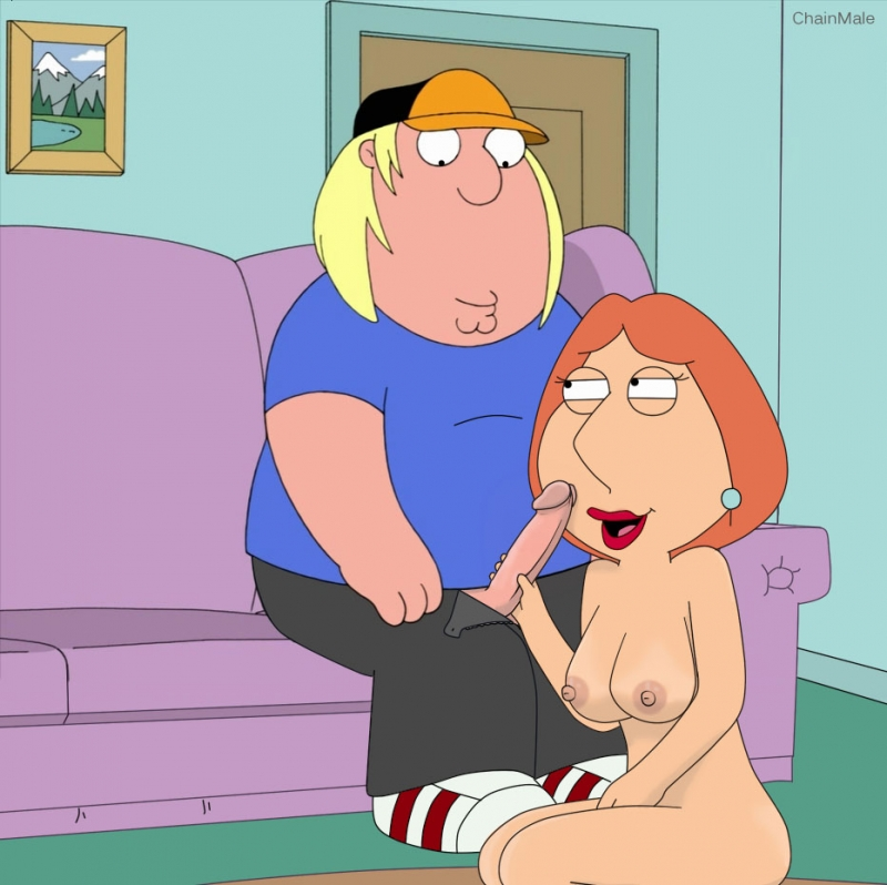 Lois Griffin got naked and prepped to give Chris the hottest deep throat of his lifetime!