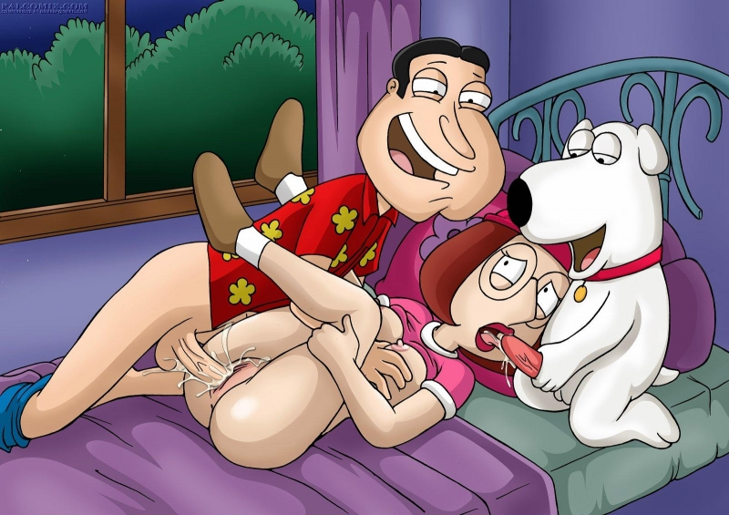 Glenn Quagmire and Meg Griffin with Brian griffin make hardcore pulverize-a-thon on sofa