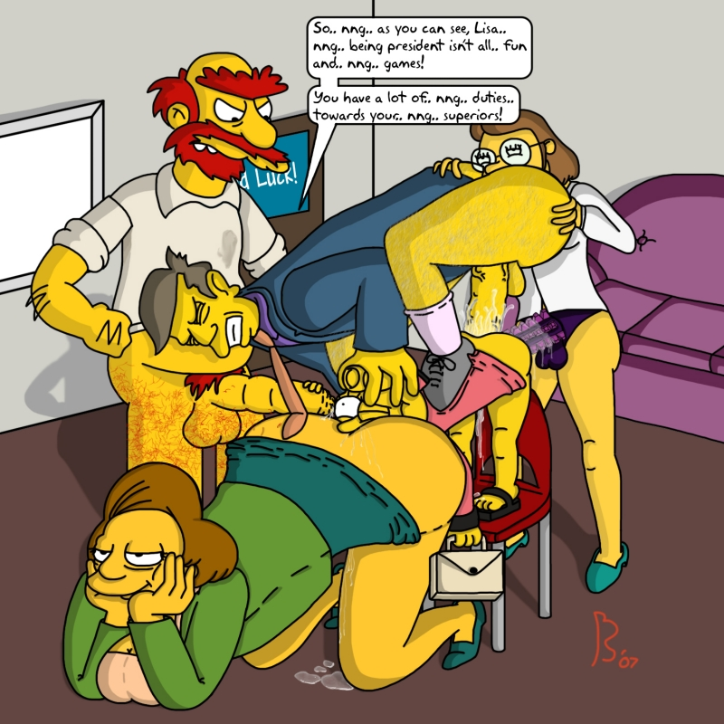Ms. Krabappel  Groundskeeper Willie Seymour Skinner Lisa Simpson Miss Hoover
