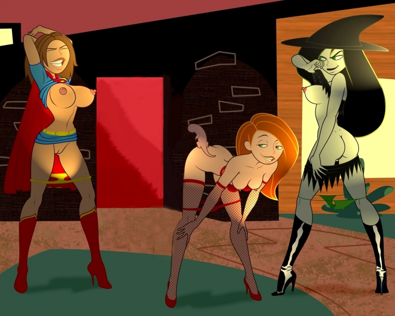 Kim Possible with Shego and Bonnie are going to make this halloween party truly titillating!