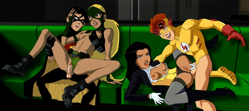 Promiscuous Zatanna and Artemis having some joy with their masculine buddies!