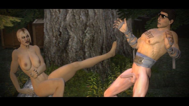 Princess Kitana Blows Johnny Cage In A Mortal Kombat Parody