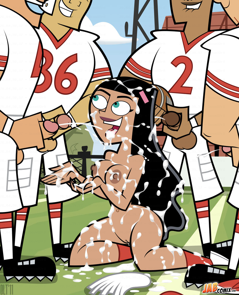 Paulina loves to cheer up her football team by letting them all to cum on her!