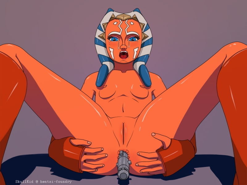 Ahsoka Tano enjoys to use her lightsaber for an agressive negotiations... or for an aggresive self ass romping romping!