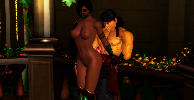Jade is tearing up with Liu Kang while Kitana is not around...