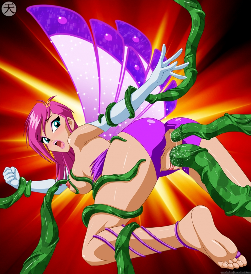 Tecna enjoys to screw with multiple green tentacles!