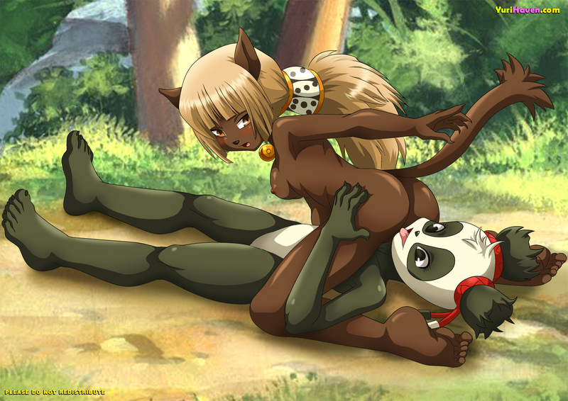 The forest of Wakfu world are filled with lesbian furries - here another two are having their fun!