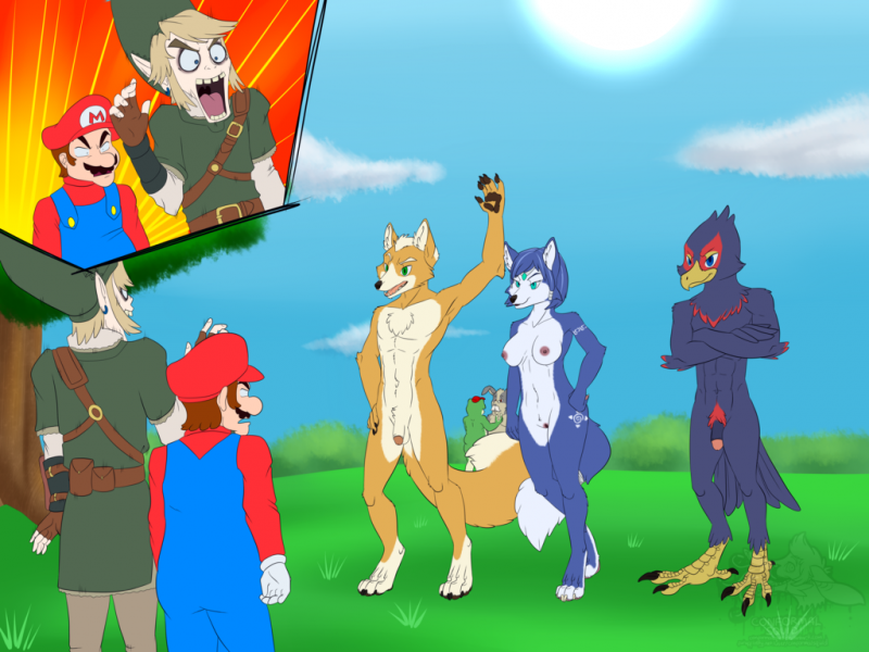 1544229 - Falco_Lombardi Fox_McCloud Krystal Legend_of_Zelda Link Mario Peppy_Hare Slippy_Toad Star_Fox Super_Mario_Bros. comic crossover.png